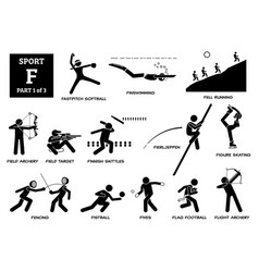 sport games alphabet f icons pictograph fastpitch vector image