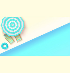 sun loungers swimming ring under an umbrella at vector image