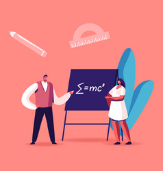 teacher male character explain mathematics or vector image