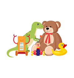 teddy bear and dinosaur set vector image