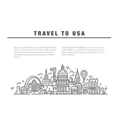 the symbols of america in line style vector image