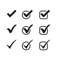 three black check mark icons in circles and vector image