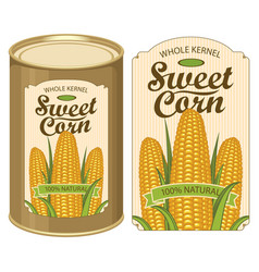 tin can label for canned sweet corn with the cobs vector image