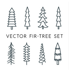 tree icon set pine line linear outline vector image