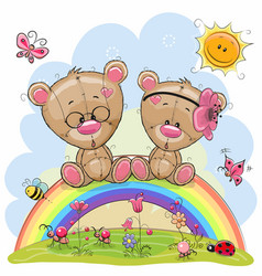 two teddy bears are sitting on the rainbow vector image