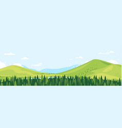 view mountain valley from forest top vector image