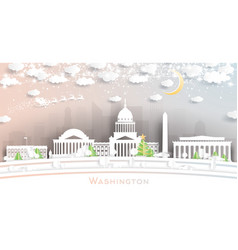 washington dc usa city skyline in paper cut style vector image
