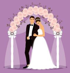 Wedding arch with bride and groom vector