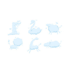 white clouds in shape different animals vector image