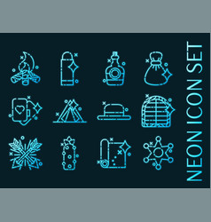 wild west set icons blue glowing neon style vector image