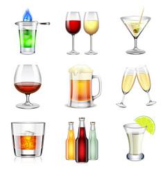 Alcoholic icons set vector image