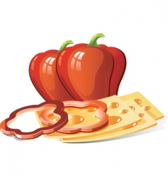 cheese and pepper vector image