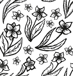 Floral doodling seamless background in tattoo vector image vector image