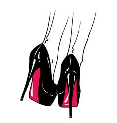 hand drawn female legs in high heels vector image