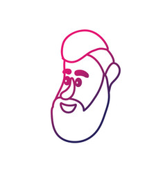line avatar man face with hairstyle design vector image