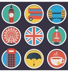 London flat circle icon set vector image