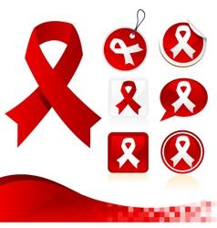 Red Awareness Ribbons Kit vector image vector image
