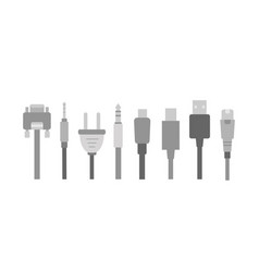set of cable wire computer and electricity vector image vector image