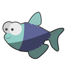 silhouette multicolor pastel of fish with big eyes vector image vector image