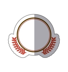sticker circular border with crown branch leaves vector image vector image