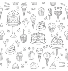Sweets hand drawn doodle seamless vector image