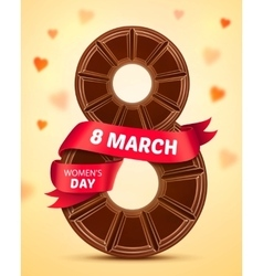8 March Womens Day Greeting card with chocolate vector image