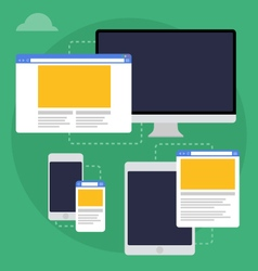 adaptive web design on different devices vector image vector image