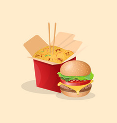 burger and noodles wok - cute cartoon colored vector image vector image