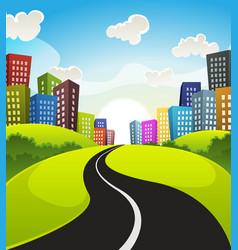 downtown cartoon landscape vector image vector image