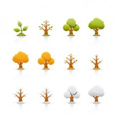 icon set tree four seasons vector image