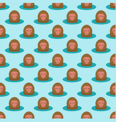 monkey head character seamless pattern background vector image