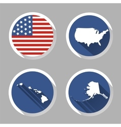 Set of USA country shape with flag icons flat vector image vector image