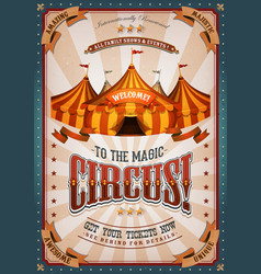 Vintage circus poster with big top vector