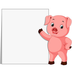 cute pig with blank sign vector image vector image
