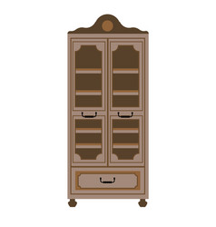 empty cupboard in vintage style isolated on white vector image vector image