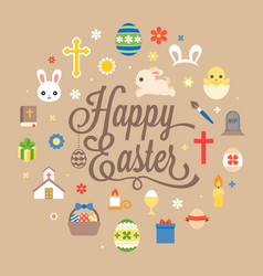 happy easter hand lettering font with icon vector image vector image