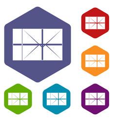 postal parcel icons set hexagon vector image vector image