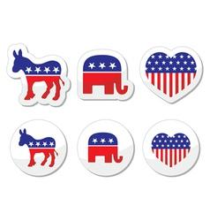 USA political symbols democrats and repbublicans vector image vector image