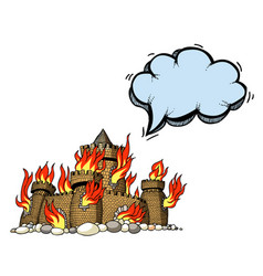 Burning castle-100 vector