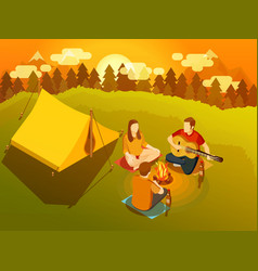 friends singing around campfire isometric vector image vector image