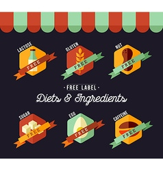 Grocery shop diet food labels for healthy eating vector