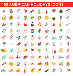 100 american holidays cons set isometric 3d style vector image