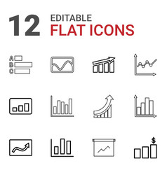 12 statistic icons vector image