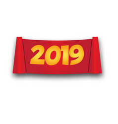 2019 happy new year paper roll banner isolated vector image