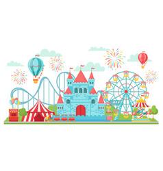 amusement park roller coaster festival carousel vector image
