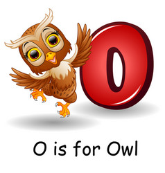 Animals alphabet o is for owl vector