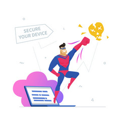 Antivirus software metaphor flat design style vector