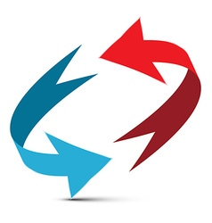 Arrows red and blue double arrow 3d infinite vector