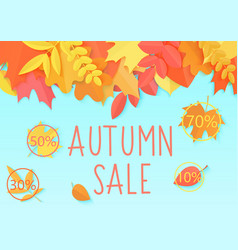 autumn sale flyer template banner with vector image