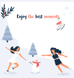 banner template with skating girls invitation card vector image